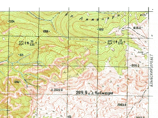 Reduced fragment of topographic map ru--gs--050k--k37-033-2--N043-20_E040-15--N043-10_E040-30; towns and cities Pitsunda, Alakhadze, Blaburkhva