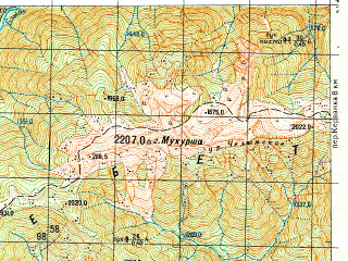 Reduced fragment of topographic map ru--gs--050k--k37-034-2--N043-20_E040-45--N043-10_E041-00; towns and cities Gornyatskiy