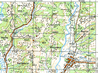 Reduced fragment of topographic map ru--gs--050k--k37-034-3--N043-10_E040-30--N043-00_E040-45; towns and cities Gudauta, Akhalsopeli, Primorskoye