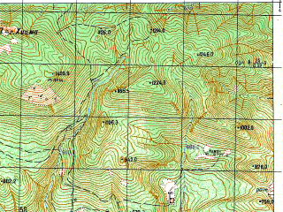 Reduced fragment of topographic map ru--gs--050k--k37-034-4--N043-10_E040-45--N043-00_E041-00; towns and cities Achadara, Novyy Afon