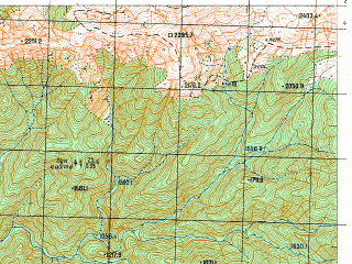 Reduced fragment of topographic map ru--gs--050k--k37-035-4--N043-10_E041-15--N043-00_E041-30; towns and cities Tsebelda