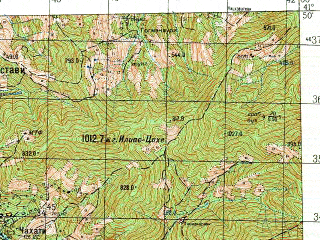 Reduced fragment of topographic map ru--gs--050k--k37-084-4--N041-50_E041-45--N041-40_E042-00; towns and cities Kobuleti, Chakva