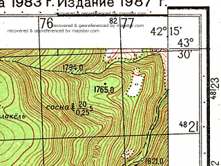 Reduced fragment of topographic map ru--gs--050k--k38-013-3--N043-30_E042-00--N043-20_E042-15; towns and cities Uchkulan