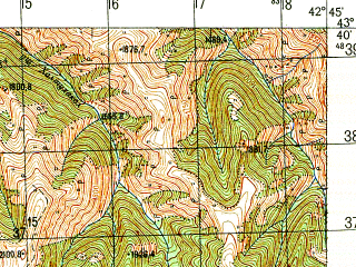 Reduced fragment of topographic map ru--gs--050k--k38-014-1--N043-40_E042-30--N043-30_E042-45