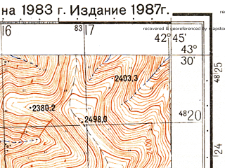 Reduced fragment of topographic map ru--gs--050k--k38-014-3--N043-30_E042-30--N043-20_E042-45
