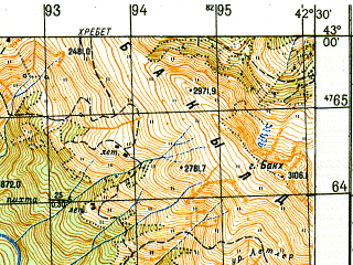 Reduced fragment of topographic map ru--gs--050k--k38-037-2--N043-00_E042-15--N042-50_E042-30