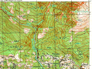 Reduced fragment of topographic map ru--gs--050k--k38-038-3--N042-50_E042-30--N042-40_E042-45; towns and cities Lentekhi