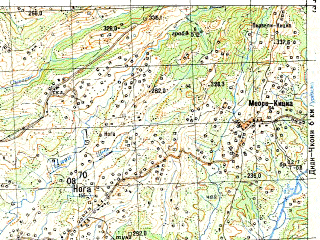 Reduced fragment of topographic map ru--gs--050k--k38-049-3--N042-30_E042-00--N042-20_E042-15; towns and cities Chkhorotsku, Nakalakevi, Potskho