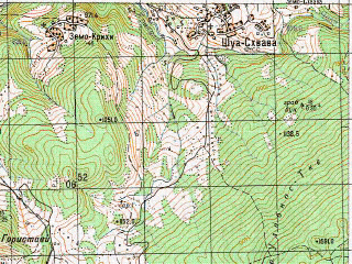Reduced fragment of topographic map ru--gs--050k--k38-051-3--N042-30_E043-00--N042-20_E043-15; towns and cities Tkibuli