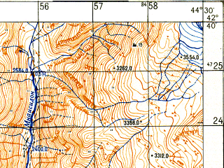 Reduced fragment of topographic map ru--gs--050k--k38-053-2--N042-40_E044-15--N042-30_E044-30