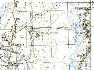 Reduced fragment of topographic map ru--gs--050k--k38-061-1--N042-20_E042-00--N042-10_E042-15; towns and cities Mikha Tskhakaya