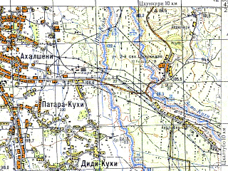 Reduced fragment of topographic map ru--gs--050k--k38-061-2--N042-20_E042-15--N042-10_E042-30; towns and cities Kulashi, Tsulukidze, Abasha, Marani