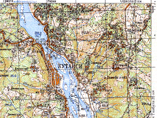 Reduced fragment of topographic map ru--gs--050k--k38-062-1--N042-20_E042-30--N042-10_E042-45; towns and cities Kutaisi, Tskhaltubo, Brotseula