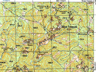 Reduced fragment of topographic map ru--gs--050k--k38-063-3--N042-10_E043-00--N042-00_E043-15; towns and cities Zestafoni, Orodzhonikidze, Shorapani