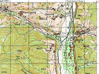 Reduced fragment of topographic map ru--gs--050k--k38-065-4--N042-10_E044-15--N042-00_E044-30; towns and cities Leningori