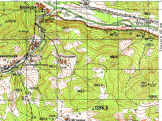 Reduced fragment of topographic map ru--gs--050k--k38-066-3--N042-10_E044-30--N042-00_E044-45; towns and cities Dusheti