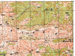 Reduced fragment of topographic map ru--gs--050k--k38-074-3--N041-50_E042-30--N041-40_E042-45; towns and cities Adigeni