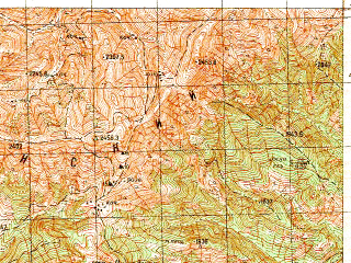 Reduced fragment of topographic map ru--gs--050k--k38-074-4--N041-50_E042-45--N041-40_E043-00; towns and cities Abastumani