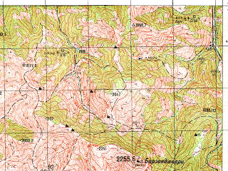 Reduced fragment of topographic map ru--gs--050k--k38-076-3--N041-50_E043-30--N041-40_E043-45; towns and cities Bakuriani