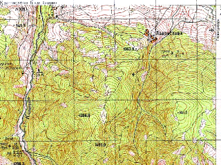 Reduced fragment of topographic map ru--gs--050k--k38-077-4--N041-50_E044-15--N041-40_E044-30; towns and cities Manglisi