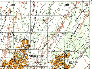 Reduced fragment of topographic map ru--gs--050k--k38-079-2--N042-00_E045-15--N041-50_E045-30; towns and cities Telavi
