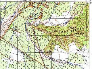 Reduced fragment of topographic map ru--gs--050k--k38-080-1--N042-00_E045-30--N041-50_E045-45; towns and cities Tsinandali
