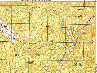 Reduced fragment of topographic map ru--gs--050k--k38-081-4--N041-50_E046-15--N041-40_E046-30; towns and cities Belokany, Lagodekhi