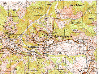 Reduced fragment of topographic map ru--gs--050k--k38-085-2--N041-40_E042-15--N041-30_E042-30; towns and cities Khulo