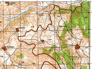 Reduced fragment of topographic map ru--gs--050k--k38-086-3--N041-30_E042-30--N041-20_E042-45; towns and cities Posof