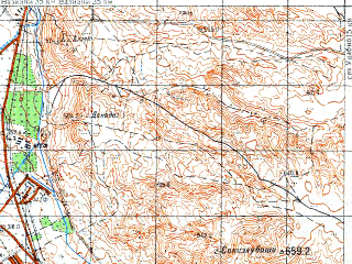 Reduced fragment of topographic map ru--gs--050k--k38-091-3--N041-30_E045-00--N041-20_E045-15; towns and cities Gardabani, Kesalo