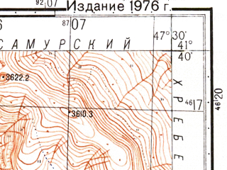 Reduced fragment of topographic map ru--gs--050k--k38-095-2--N041-40_E047-15--N041-30_E047-30; towns and cities Rutul