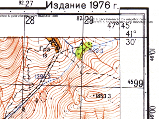Reduced fragment of topographic map ru--gs--050k--k38-096-3--N041-30_E047-30--N041-20_E047-45; towns and cities Akhty