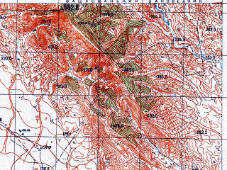Reduced fragment of topographic map ru--gs--050k--k38-105-4--N041-10_E046-15--N041-00_E046-30; towns and cities Poylu