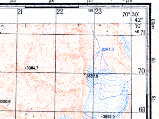 Reduced fragment of topographic map ru--gs--050k--k42-069-4--N042-10_E070-15--N042-00_E070-30