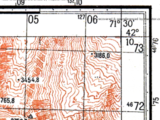Reduced fragment of topographic map ru--gs--050k--k42-071-4--N042-10_E071-15--N042-00_E071-30