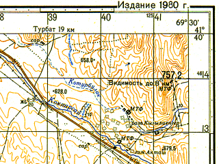 Reduced fragment of topographic map ru--gs--050k--k42-091-2--N041-40_E069-15--N041-30_E069-30
