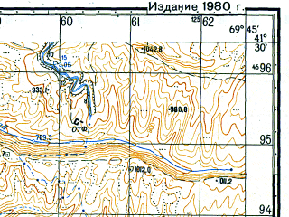 Reduced fragment of topographic map ru--gs--050k--k42-092-3--N041-30_E069-30--N041-20_E069-45; towns and cities Chirchik