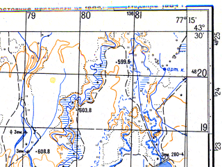 Reduced fragment of topographic map ru--gs--050k--k43-023-3--N043-30_E077-00--N043-20_E077-15; towns and cities Imeni Panfilova, Alatau