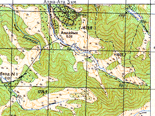 Reduced fragment of topographic map ru--gs--050k--k43-034-4--N043-10_E076-45--N043-00_E077-00