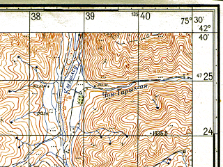 Reduced fragment of topographic map ru--gs--050k--k43-055-2--N042-40_E075-15--N042-30_E075-30