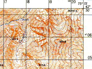 Reduced fragment of topographic map ru--gs--050k--k43-055-3--N042-30_E075-00--N042-20_E075-15