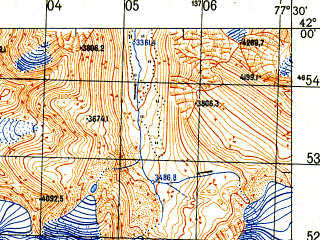 Reduced fragment of topographic map ru--gs--050k--k43-083-2--N042-00_E077-15--N041-50_E077-30