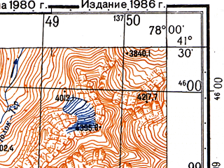 Reduced fragment of topographic map ru--gs--050k--k43-096-4--N041-30_E077-45--N041-20_E078-00