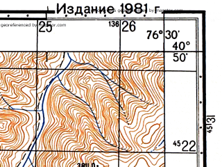 Reduced fragment of topographic map ru--gs--050k--k43-117-4--N040-50_E076-15--N040-40_E076-30