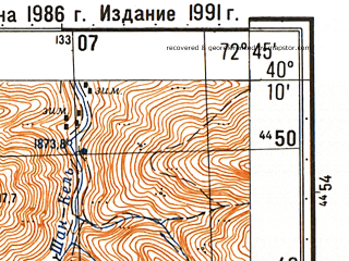 Reduced fragment of topographic map ru--gs--050k--k43-133-3--N040-10_E072-00--N040-00_E072-15; towns and cities Chauvay