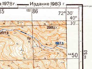 Reduced fragment of topographic map ru--gs--050k--k43-133-4--N040-10_E072-15--N040-00_E072-30