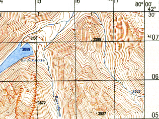 Reduced fragment of topographic map ru--gs--050k--k44-052-4--N042-30_E079-45--N042-20_E080-00