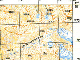 Reduced fragment of topographic map ru--gs--050k--k44-061-3--N042-10_E078-00--N042-00_E078-15
