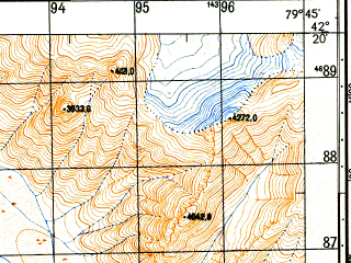Reduced fragment of topographic map ru--gs--050k--k44-064-1--N042-20_E079-30--N042-10_E079-45