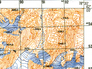 Reduced fragment of topographic map ru--gs--050k--k44-073-2--N042-00_E078-15--N041-50_E078-30